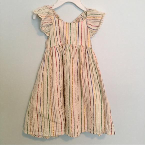 Old Navy Other - Flutter Sleeve Striped Dress with Pom-Pom trim